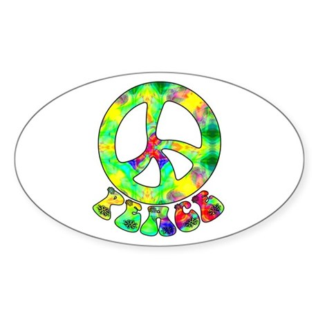 Flower Child Peace Oval Sticker