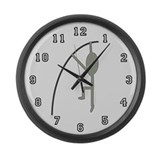 Grey Pole Vaulter Large Wall Clock