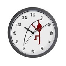 Maroon Pole Vaulter Wall Clock