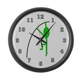 Green Pole Vaulter Large Wall Clock