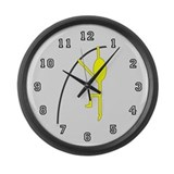 Yellow Pole Vaulter Large Wall Clock