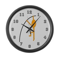 Orange Pole Vaulter Large Wall Clock