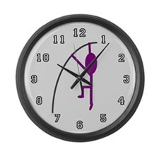 Purple Pole Vaulter Large Wall Clock
