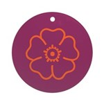 Orange Flower On Purple Ornament (Round)