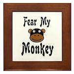 Fear My Monkey Funny Framed Tile