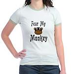 Fear My Monkey Funny Jr. Ringer T-Shirt