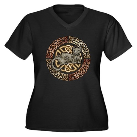 Celtic Cat Women's Plus Size V-Neck Dark T-Shirt