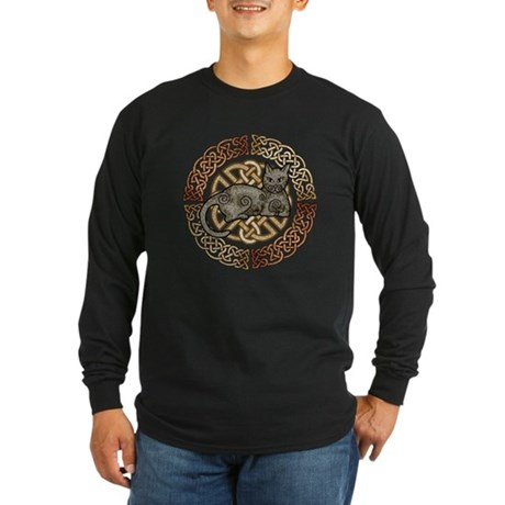 Celtic Cat Long Sleeve Dark T-Shirt