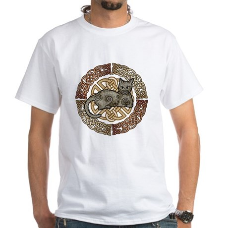 Celtic Cat White T-Shirt