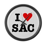 I Heart Sac Large Wall Clock
