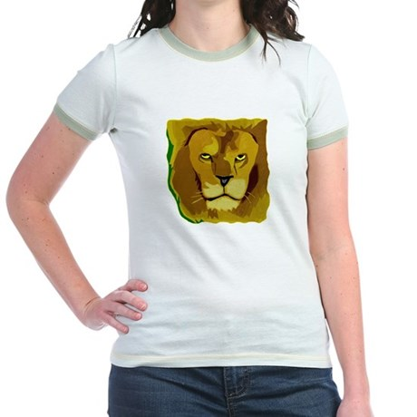 Yellow Eyes Lion Jr. Ringer T-Shirt