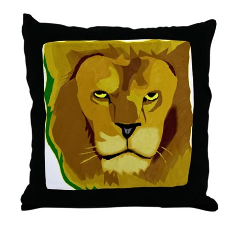 Yellow Eyes Lion Throw Pillow