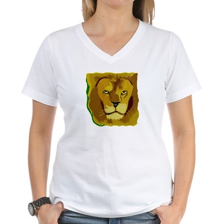 Yellow Eyes Lion Women's V-Neck T-Shirt