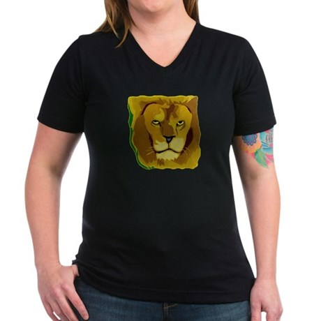 Yellow Eyes Lion Women's V-Neck Dark T-Shirt