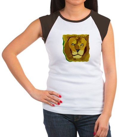 Yellow Eyes Lion Women's Cap Sleeve T-Shirt