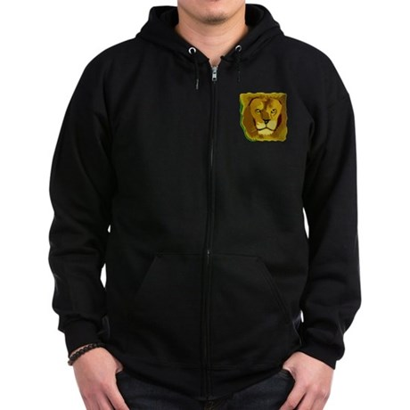 Yellow Eyes Lion Zip Hoodie (dark)