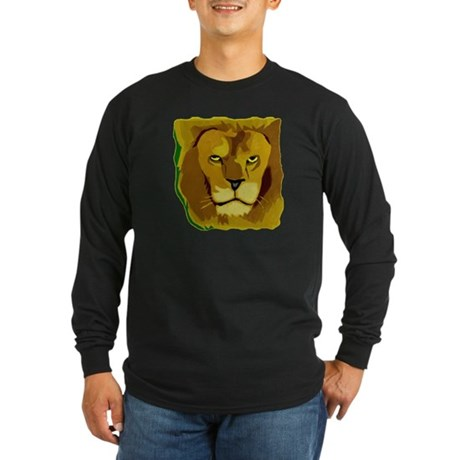 Yellow Eyes Lion Long Sleeve Dark T-Shirt