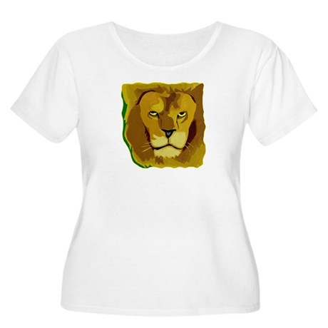 Yellow Eyes Lion Women's Plus Size Scoop Neck T-Sh
