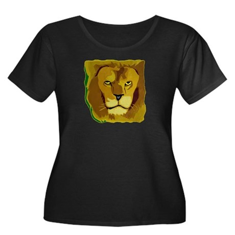 Yellow Eyes Lion Women's Plus Size Scoop Neck Dark