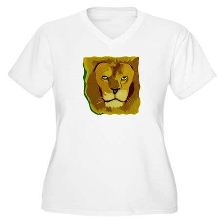 Yellow Eyes Lion Women's Plus Size V-Neck T-Shirt
