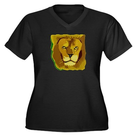 Yellow Eyes Lion Women's Plus Size V-Neck Dark T-S