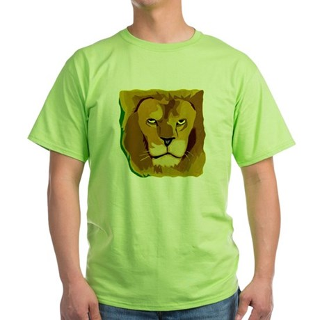 Yellow Eyes Lion Green T-Shirt