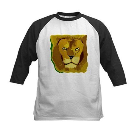 Yellow Eyes Lion Kids Baseball Jersey