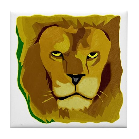 Yellow Eyes Lion Tile Coaster