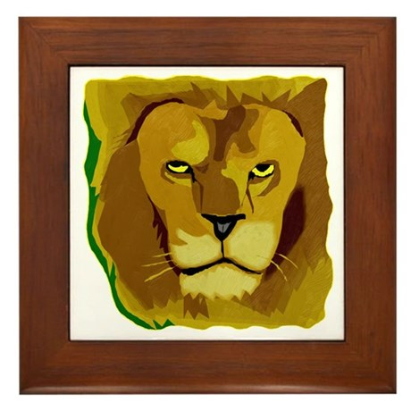 Yellow Eyes Lion Framed Tile