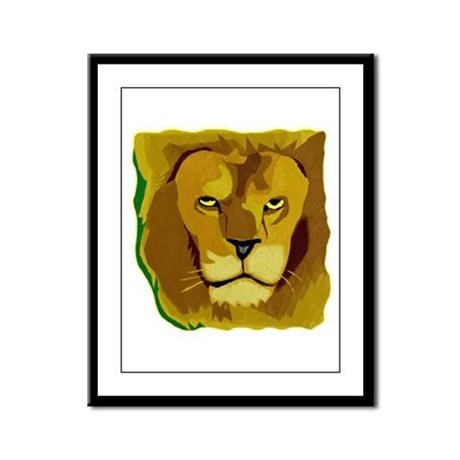 Yellow Eyes Lion Framed Panel Print