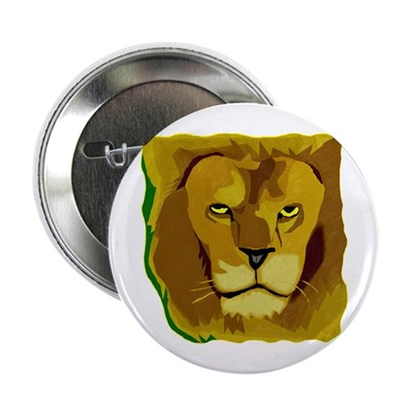 Yellow Eyes Lion 2.25&quot; Button (10 pack)