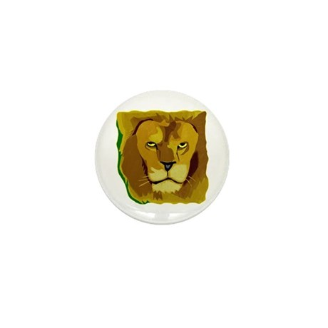 Yellow Eyes Lion Mini Button