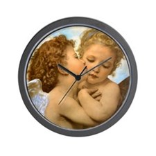 First Kiss by Bouguereau Wall Clock