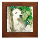 Great Pyrenees Framed Tile, Puppy in the Garden