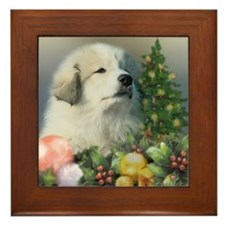 Great Pyrenees Framed Tile, Christmas Puppy