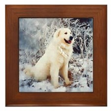 Great Pyrenees Framed Tile, Winter Wood