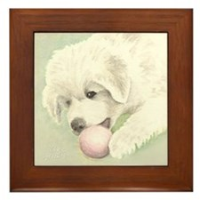 Great Pyrenees Framed Tile, Puppy - Watercolour