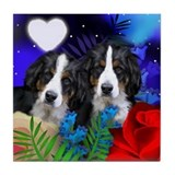 BERNESE MOUNTAIN DOG LOVE HEART MOON Tile Coaster