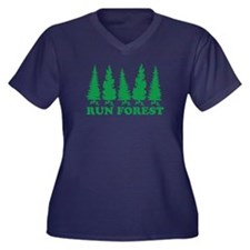 Run Forest Women's Plus Size V-Neck Dark T-Shirt