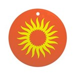 Yellow Sun Burst On Red Ornament (Round)