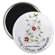 "Flower Ribbon LUNG CANCER 2.25"" Magnet (100 pack)"