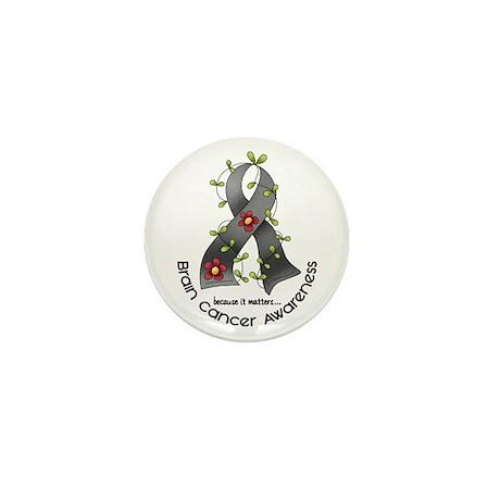 Flower Ribbon BRAIN CANCER Mini Button