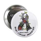 "Flower Ribbon BRAIN CANCER 2.25"" Button"