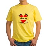 Autism Advocate Tattoo Heart Yellow T-Shirt