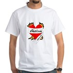 Autism Advocate Tattoo Heart White T-Shirt