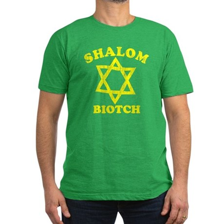 Shalom Biotch Mens Fitted Dark T-Shirt
