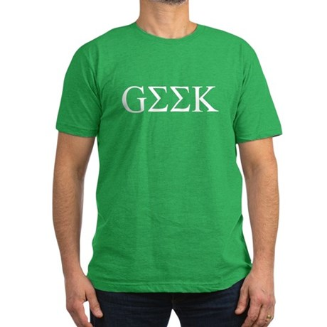 Geek in Greek Letters Mens Fitted Dark T-Shirt
