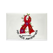 Flower Ribbon HIV AIDS Rectangle Magnet (100 pack)