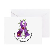 Flower Ribbon ALZHEIMERS Greeting Card