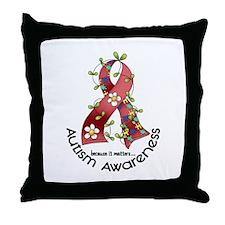 Flower Ribbon AUTISM Throw Pillow